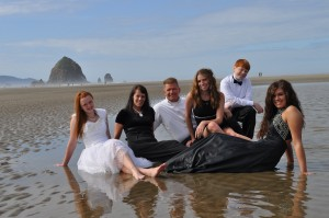 Jason & Debby with their amazing kids at Cannon Beach, OR
